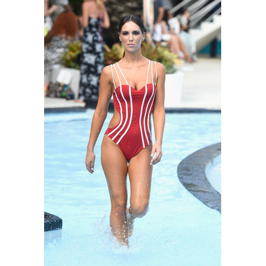 Ruby Red Striped Braxilian Monokini
