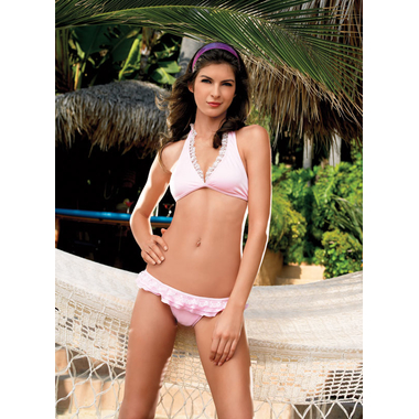 Lace ruffled bikini