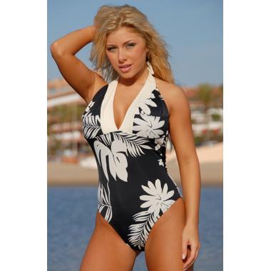 Black & Cream Print Halter Swimsuit