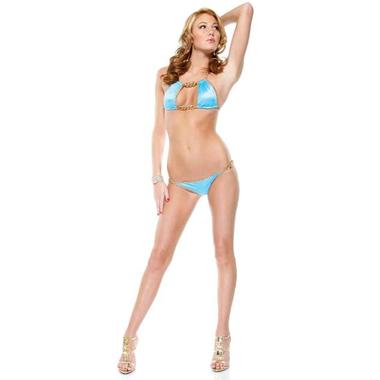 Gold Chain Blue Bikini