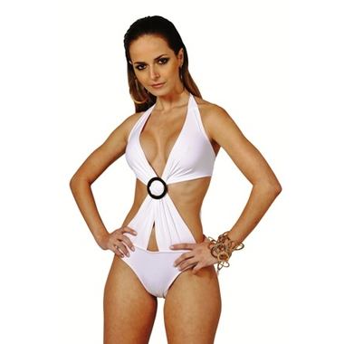 white Cross Over Monokini