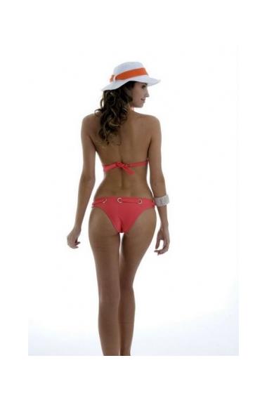 ruched triangle bikini coral back