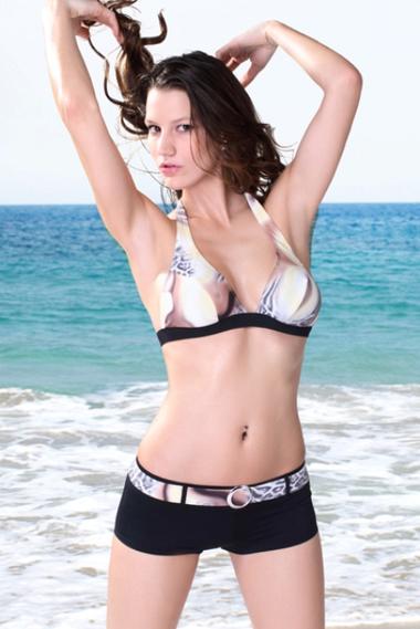 Tiger Print Halter Bikini