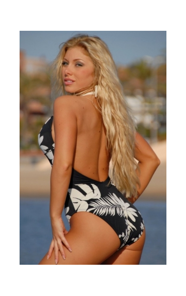 Black & Cream Print Halter Swimsuit